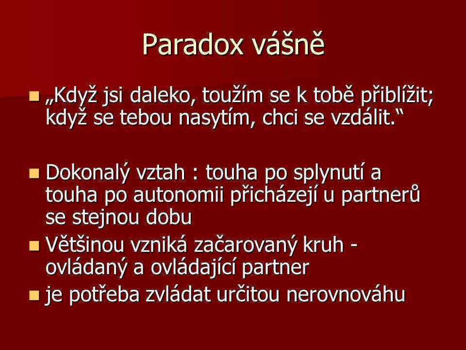 """Paradox vášně """"Když jsi daleko, toužím se k tobě přiblížit; když se tebou nasytím, chci se vzdálit."""