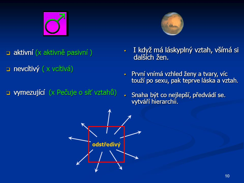 aktivní (x aktivně pasivní ) nevcítivý ( x vcítivá)
