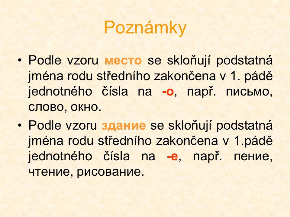 Poznámky Podle vzoru место se skloňují podstatná jména rodu středního zakončena v 1. pádě jednotného čísla na -o, např. письмо, слово, окно.