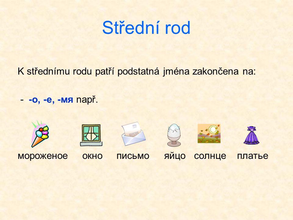 Střední rod K střednímu rodu patří podstatná jména zakončena na: