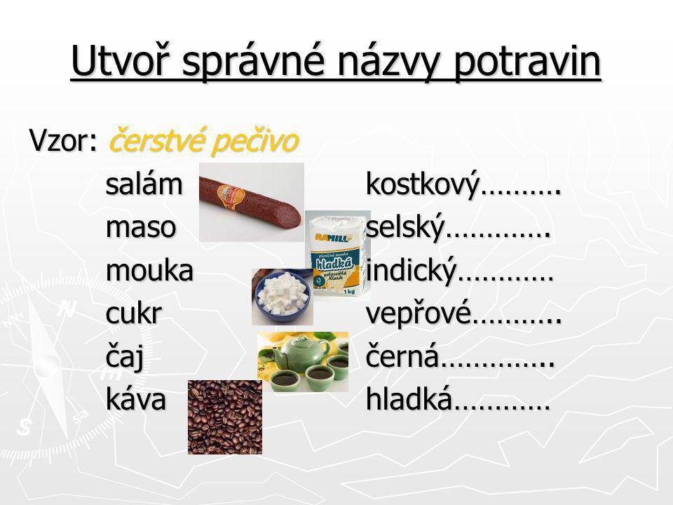 Utvoř správné názvy potravin