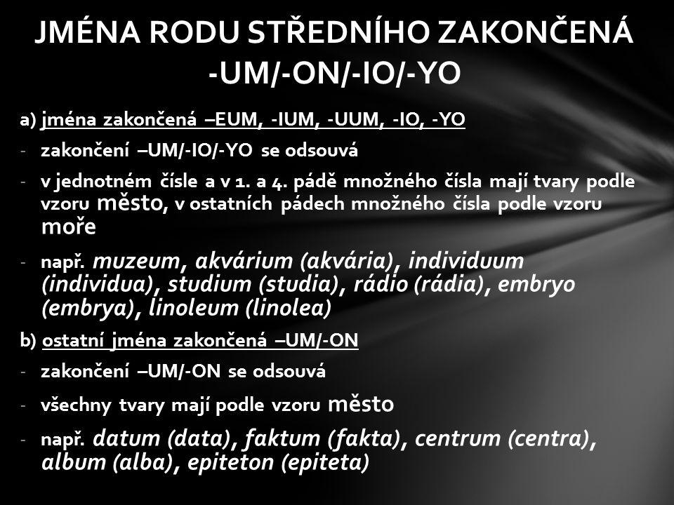 JMÉNA RODU STŘEDNÍHO ZAKONČENÁ -UM/-ON/-IO/-YO
