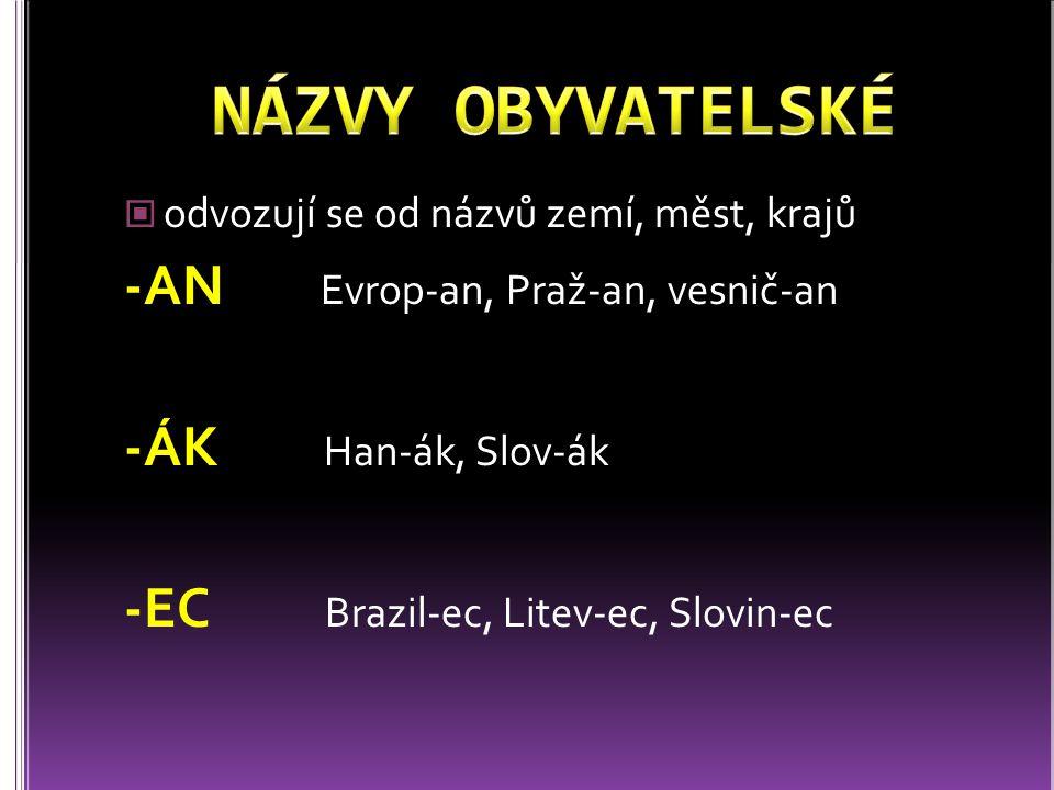 NÁZVY OBYVATELSKÉ -AN Evrop-an, Praž-an, vesnič-an -ÁK Han-ák, Slov-ák