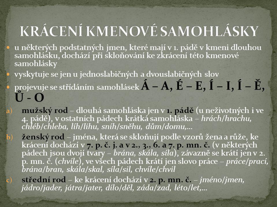 KRÁCENÍ KMENOVÉ SAMOHLÁSKY
