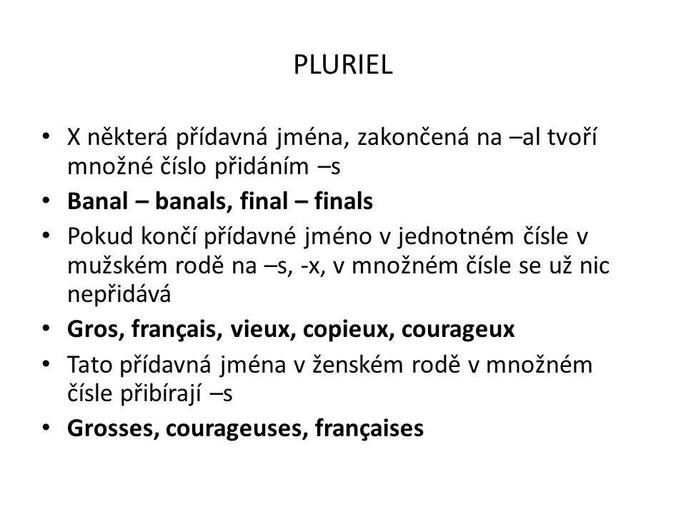 PLURIEL X některá přídavná jména, zakončená na –al tvoří množné číslo přidáním –s. Banal – banals, final – finals.