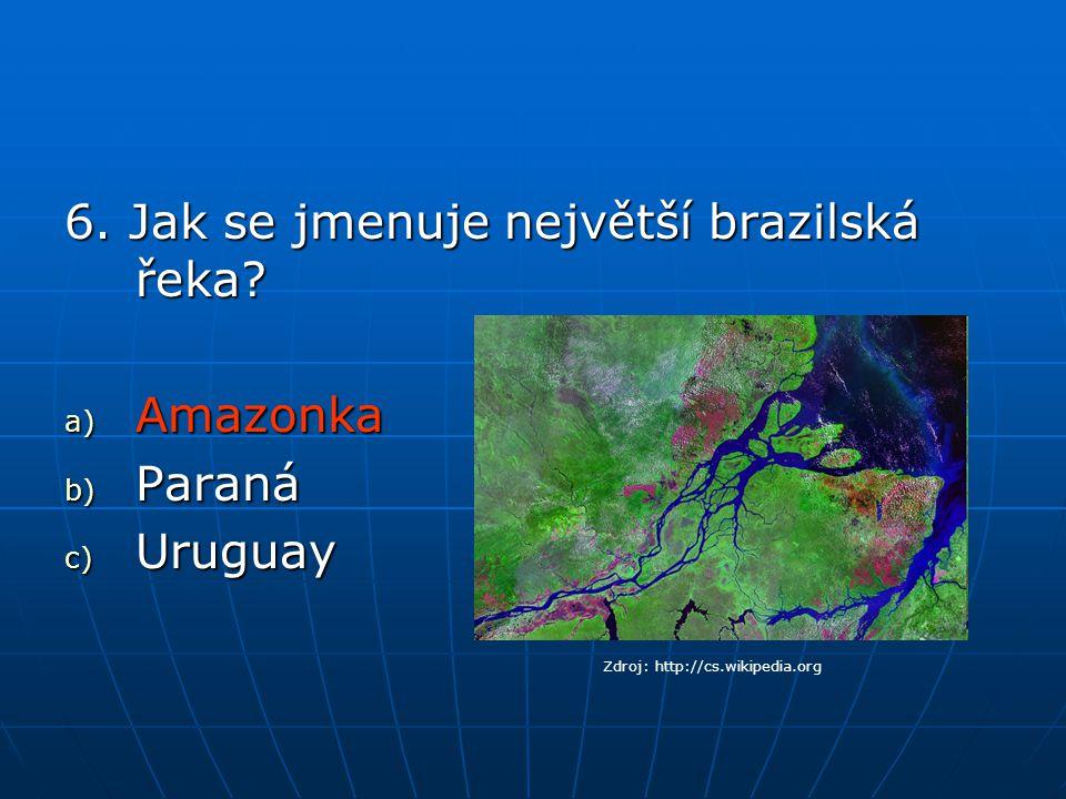 6. Jak se jmenuje největší brazilská řeka