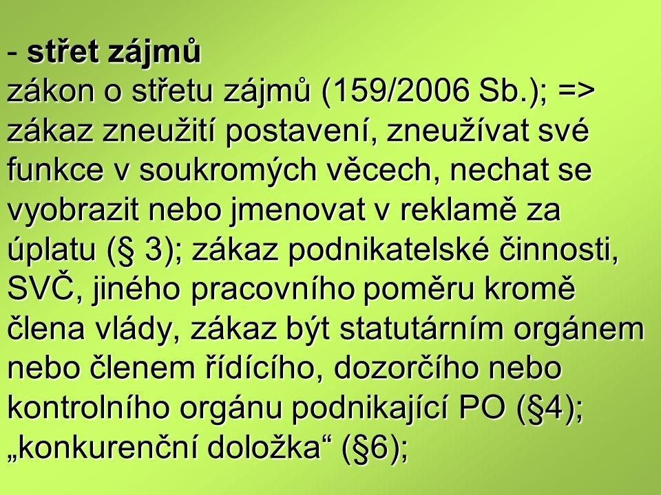 střet zájmů zákon o střetu zájmů (159/2006 Sb