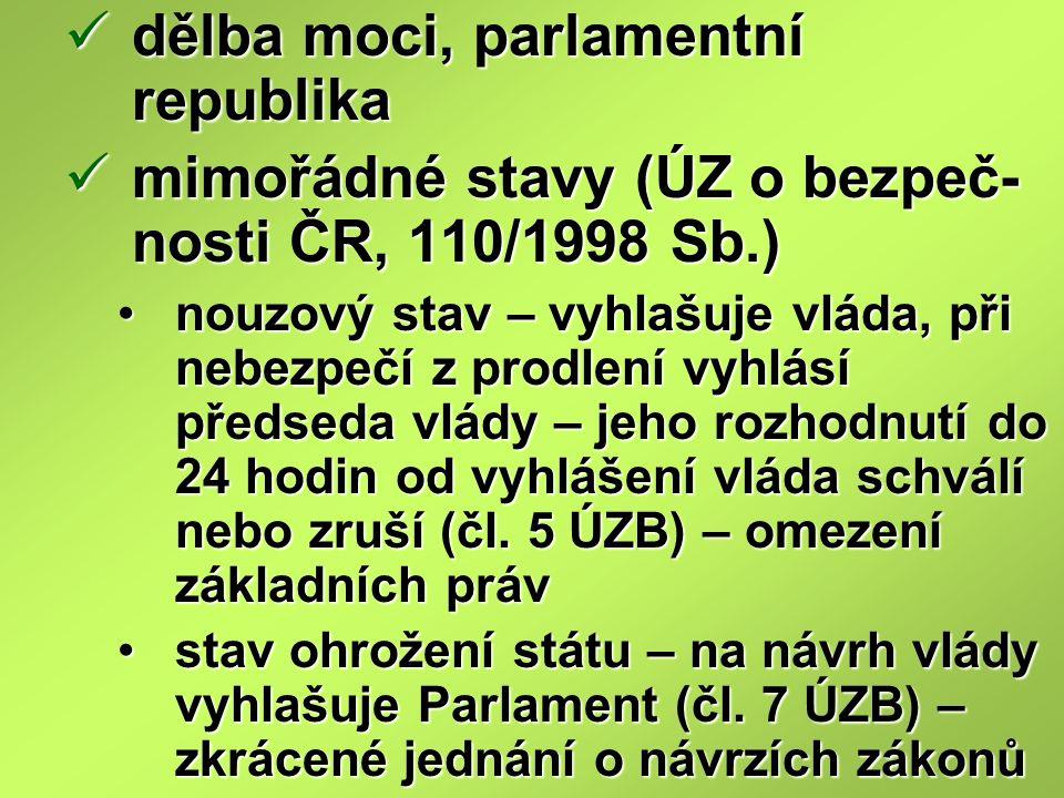 dělba moci, parlamentní republika