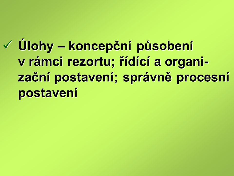 Úlohy – koncepční působení v rámci rezortu; řídící a organi-zační postavení; správně procesní postavení