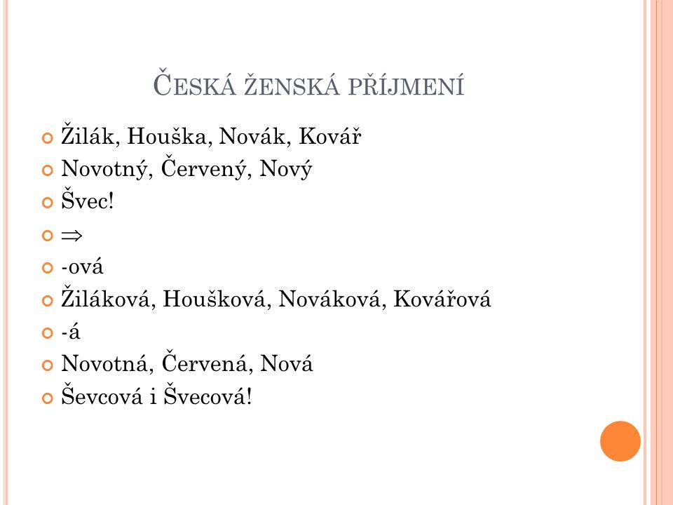 Česká ženská příjmení Žilák, Houška, Novák, Kovář