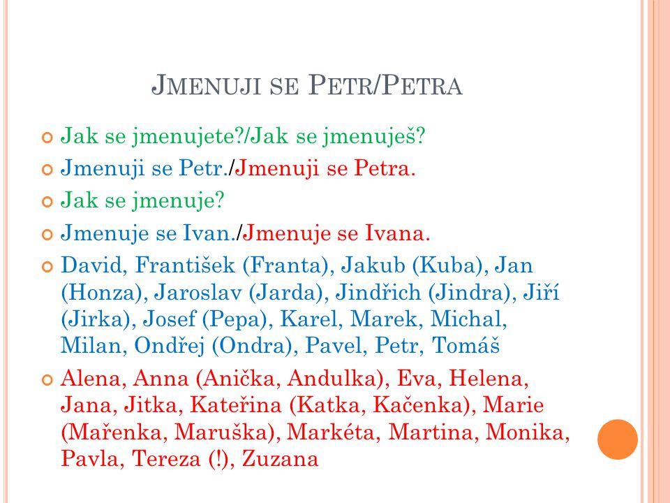 Jmenuji se Petr/Petra Jak se jmenujete /Jak se jmenuješ