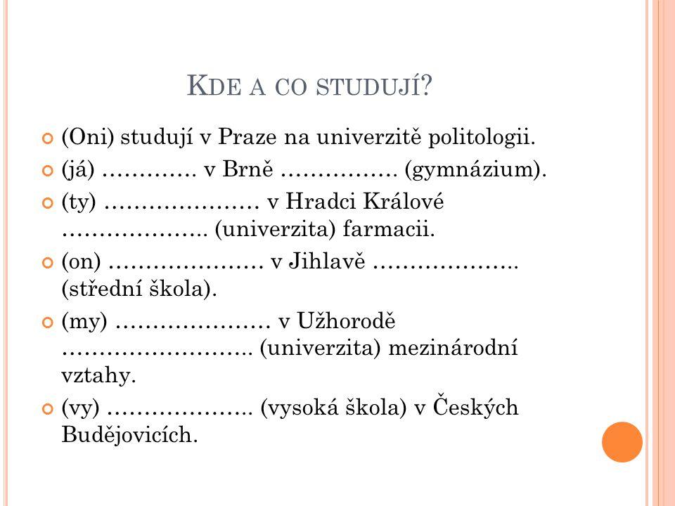 Kde a co studují (Oni) studují v Praze na univerzitě politologii.