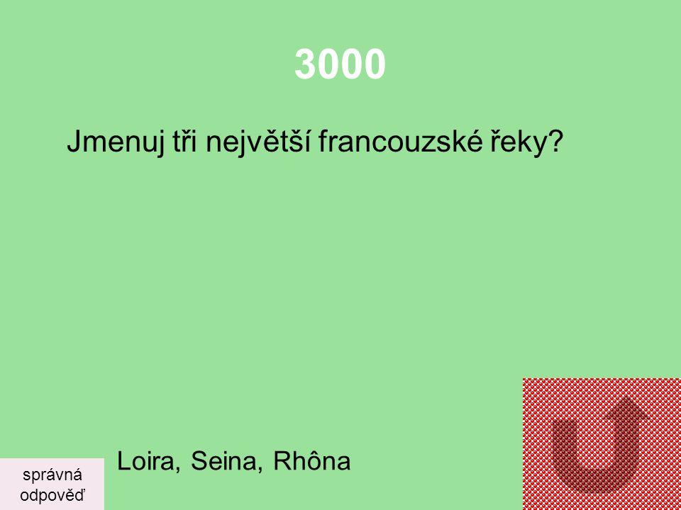 3000 Jmenuj tři největší francouzské řeky Loira, Seina, Rhôna správná