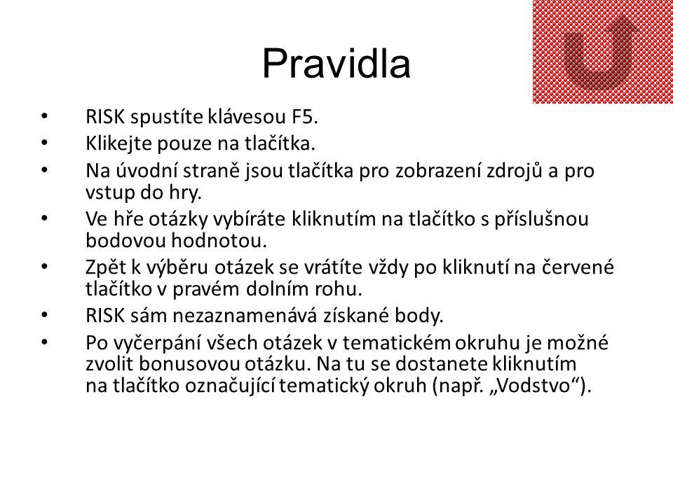 Pravidla RISK spustíte klávesou F5. Klikejte pouze na tlačítka.