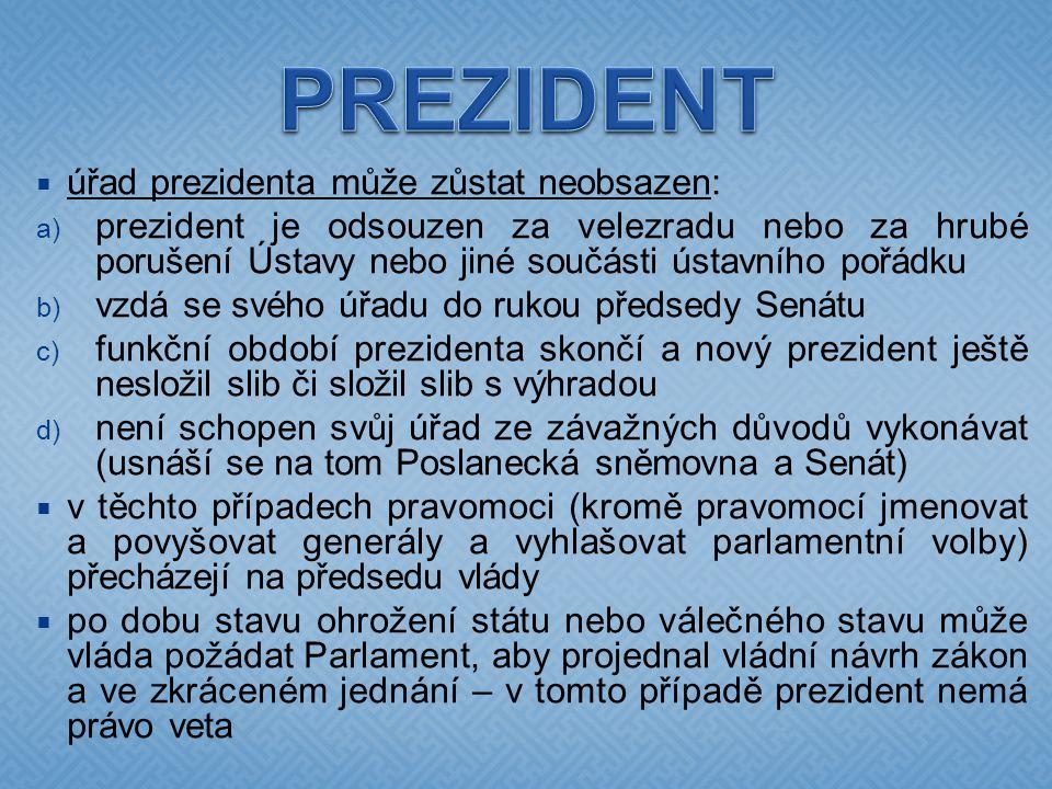 PREZIDENT úřad prezidenta může zůstat neobsazen: