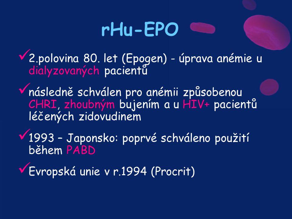 rHu-EPO 2.polovina 80. let (Epogen) - úprava anémie u dialyzovaných pacientů.