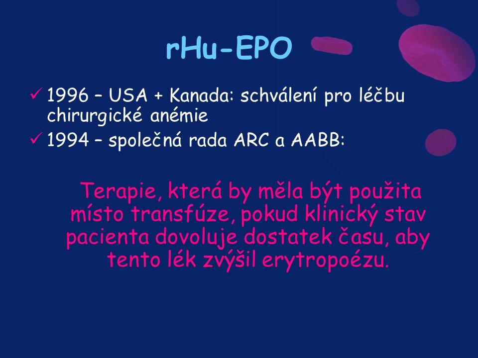 rHu-EPO 1996 – USA + Kanada: schválení pro léčbu chirurgické anémie