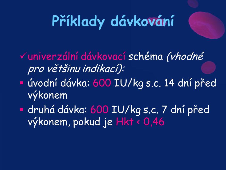 Příklady dávkování univerzální dávkovací schéma (vhodné pro většinu indikací): úvodní dávka: 600 IU/kg s.c. 14 dní před výkonem.