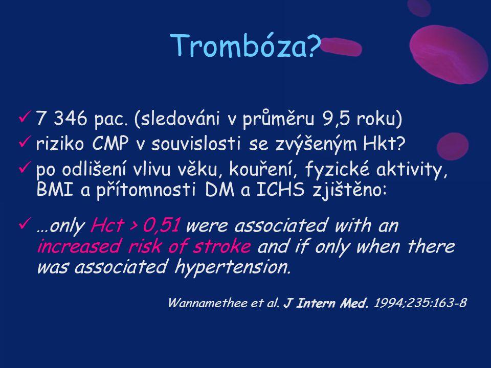 Trombóza 7 346 pac. (sledováni v průměru 9,5 roku)