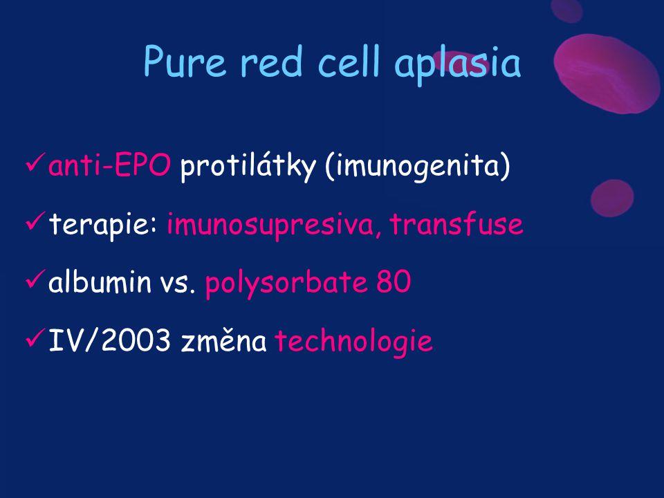 Pure red cell aplasia anti-EPO protilátky (imunogenita)