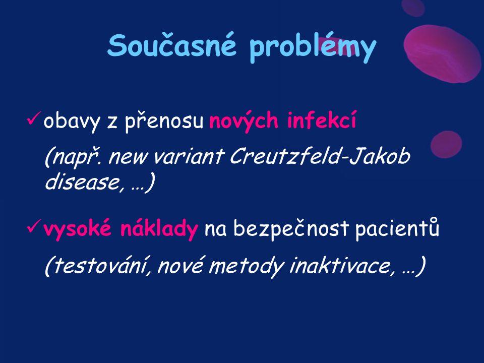 Současné problémy obavy z přenosu nových infekcí (např. new variant Creutzfeld-Jakob disease, …)