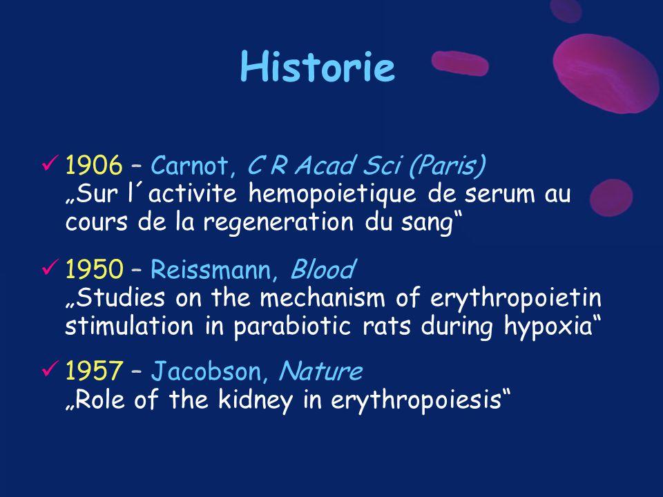 """Historie 1906 – Carnot, C R Acad Sci (Paris) """"Sur l´activite hemopoietique de serum au cours de la regeneration du sang"""