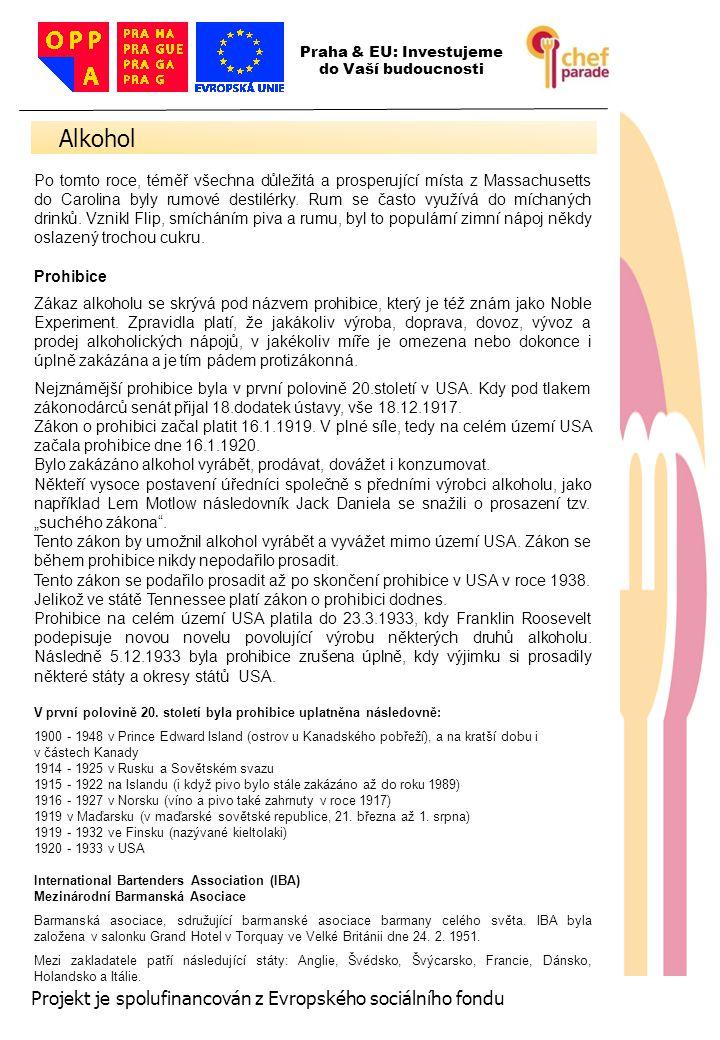 Alkohol 13 Projekt je spolufinancován z Evropského sociálního fondu
