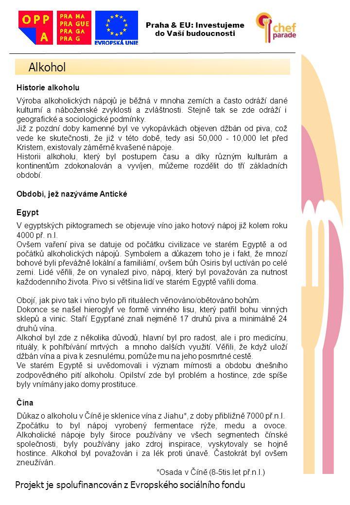 Alkohol 6 Projekt je spolufinancován z Evropského sociálního fondu