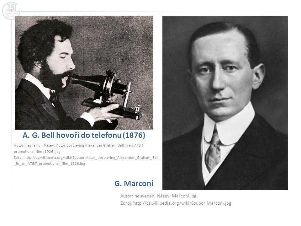A. G. Bell hovoří do telefonu (1876)