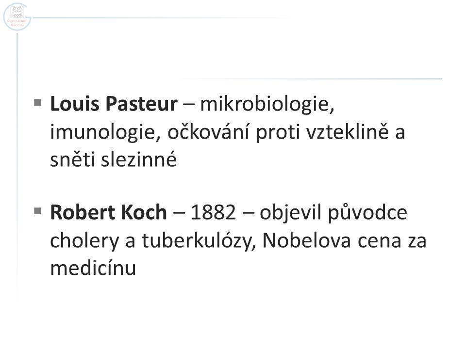 Louis Pasteur – mikrobiologie, imunologie, očkování proti vzteklině a sněti slezinné