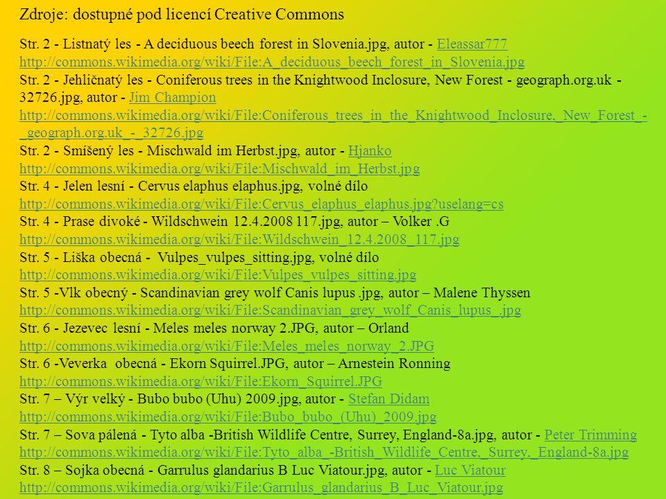 Zdroje: dostupné pod licencí Creative Commons