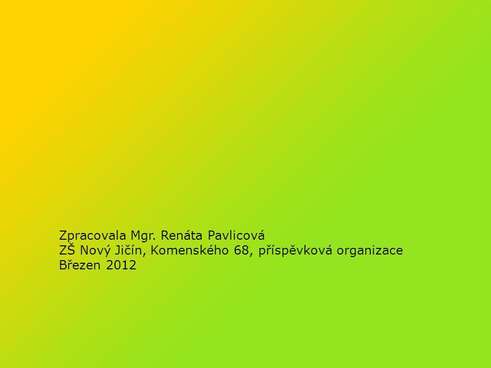 Zpracovala Mgr. Renáta Pavlicová