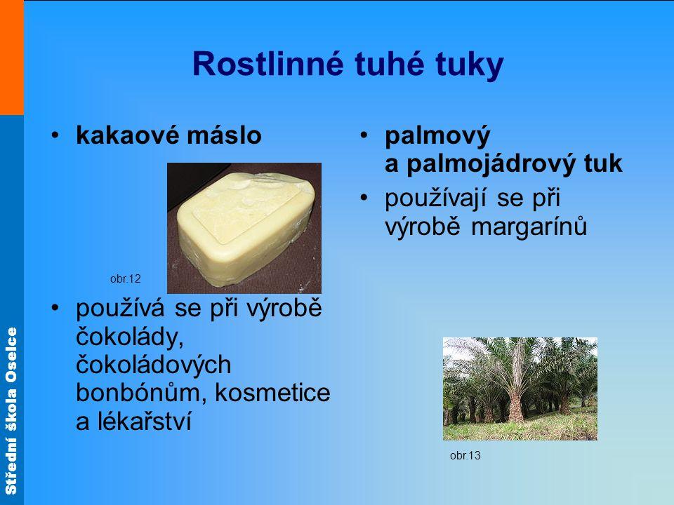Rostlinné tuhé tuky kakaové máslo