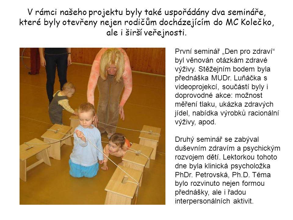 V rámci našeho projektu byly také uspořádány dva semináře, které byly otevřeny nejen rodičům docházejícím do MC Kolečko, ale i širší veřejnosti.