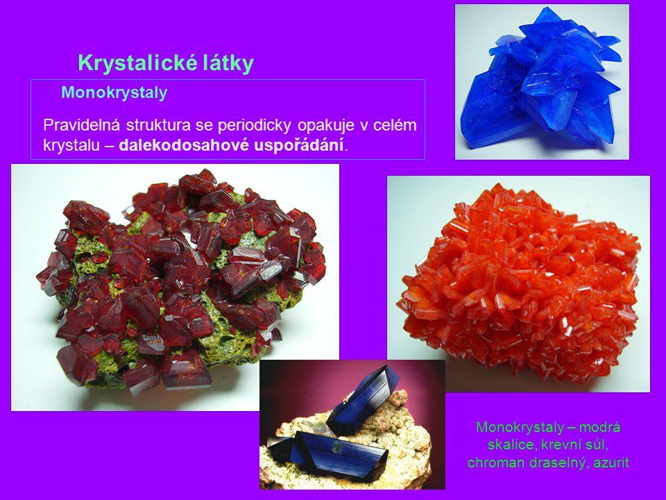 Monokrystaly – modrá skalice, krevní sůl, chroman draselný, azurit