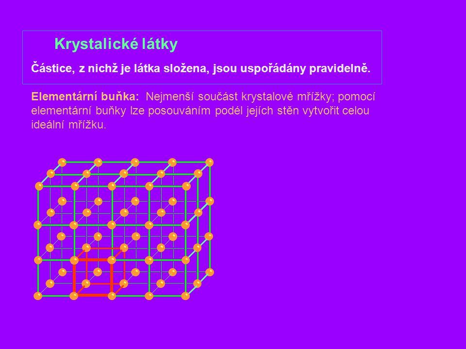 Krystalické látky Částice, z nichž je látka složena, jsou uspořádány pravidelně.