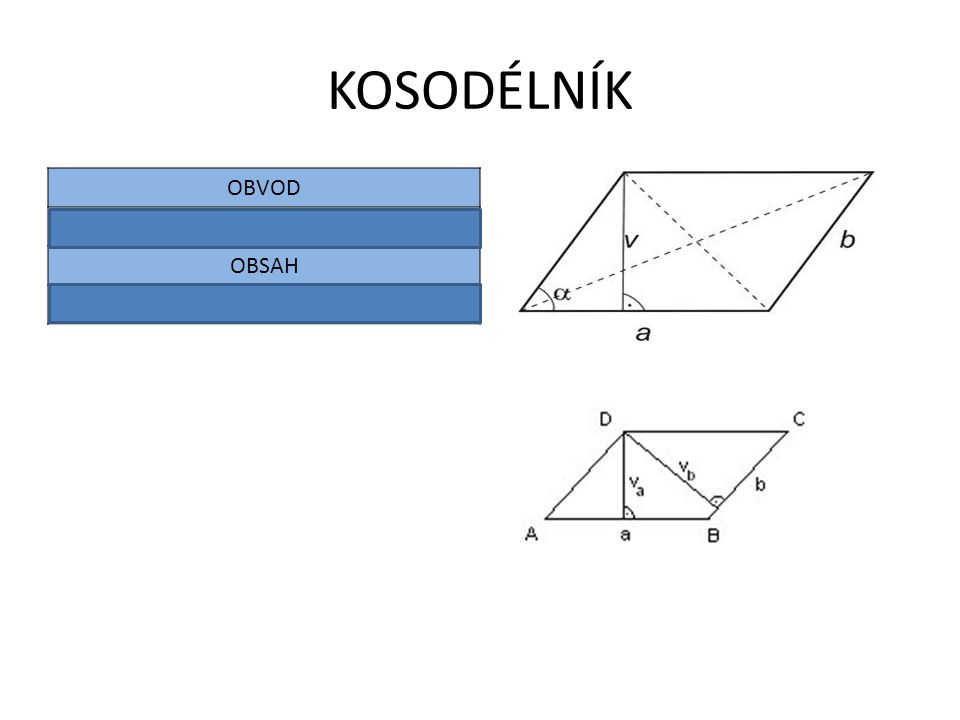 KOSODÉLNÍK OBVOD O = 2.( a + b) OBSAH S = a . va = b . vb