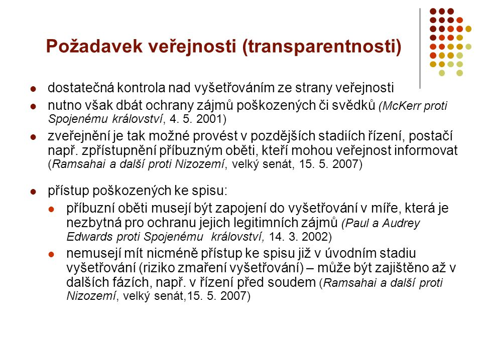 Požadavek veřejnosti (transparentnosti)