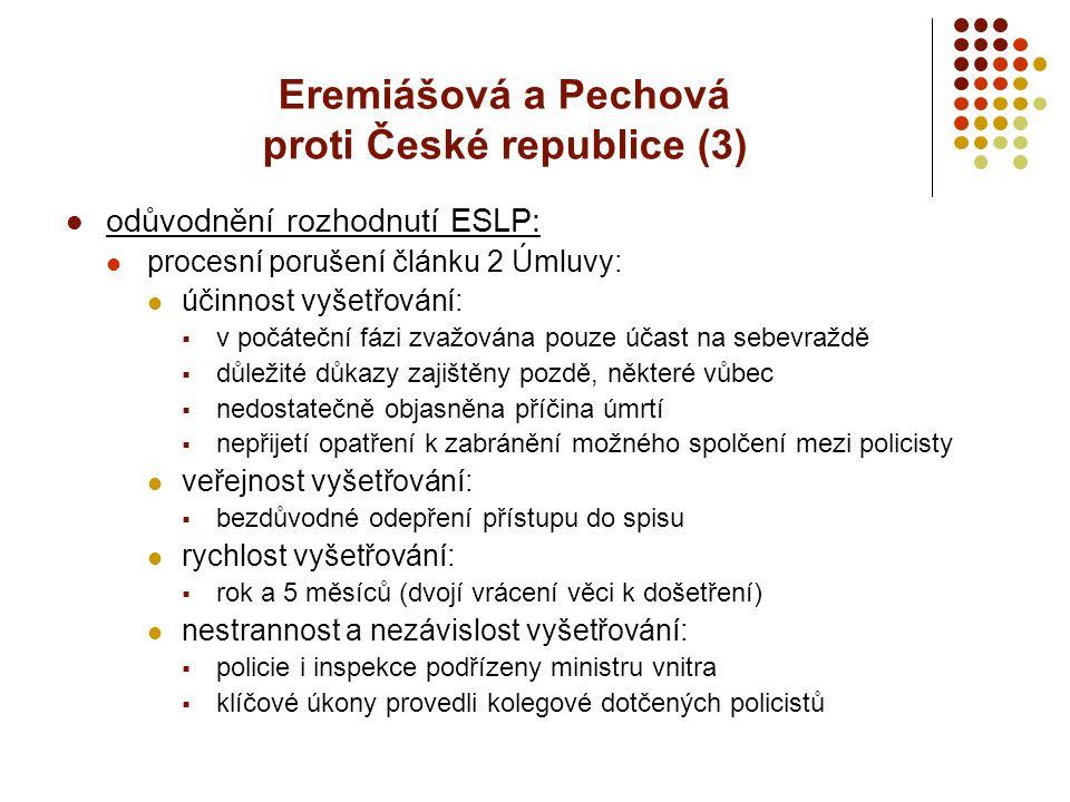 Eremiášová a Pechová proti České republice (3)
