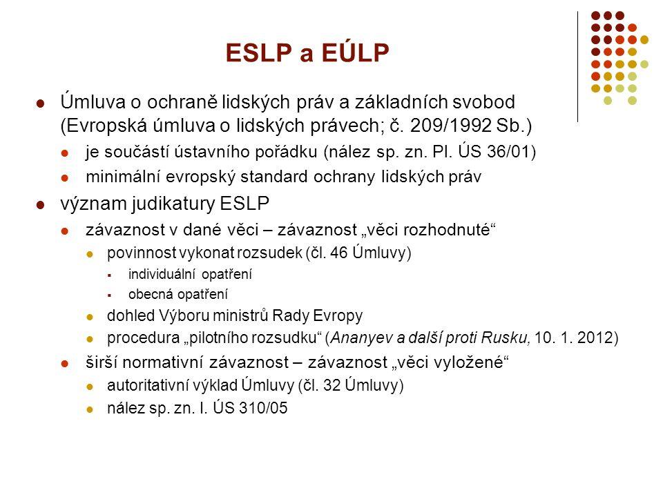 ESLP a EÚLP Úmluva o ochraně lidských práv a základních svobod (Evropská úmluva o lidských právech; č. 209/1992 Sb.)