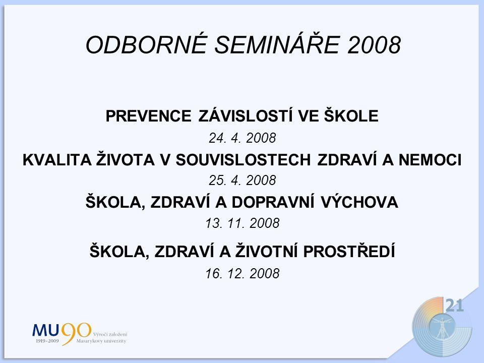ODBORNÉ SEMINÁŘE 2008 PREVENCE ZÁVISLOSTÍ VE ŠKOLE