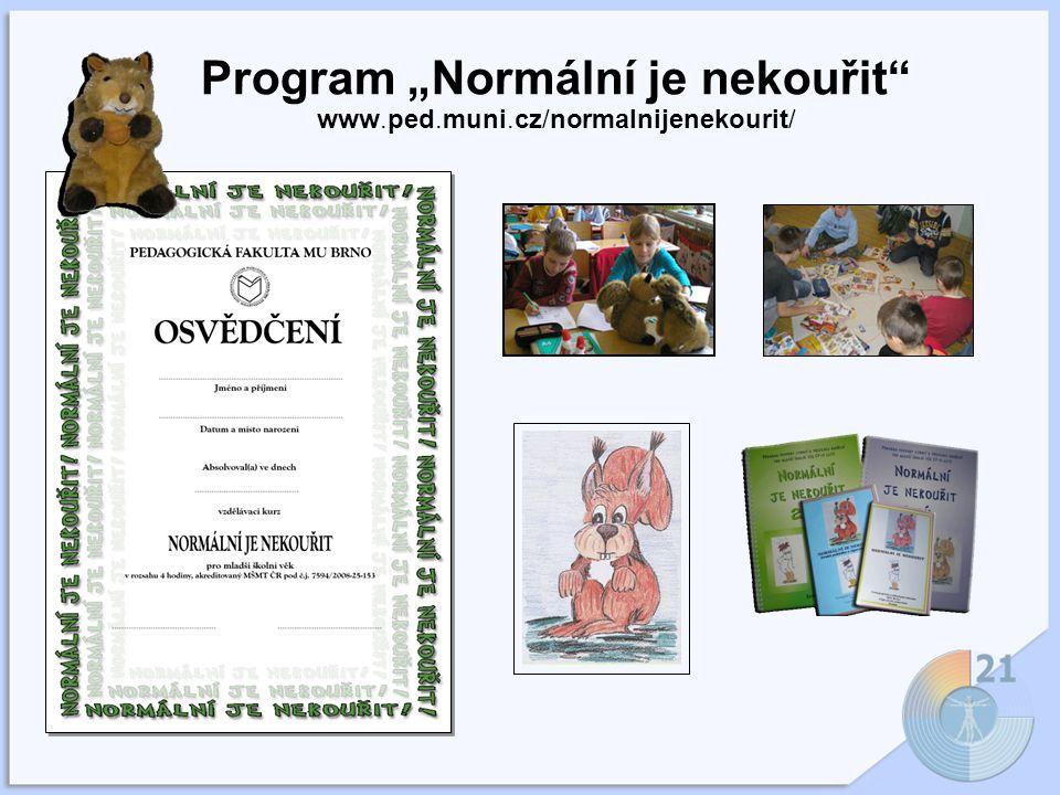 """Program """"Normální je nekouřit www.ped.muni.cz/normalnijenekourit/"""