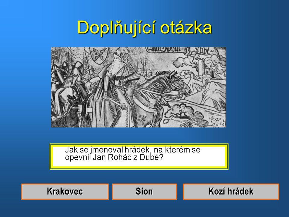 Doplňující otázka Krakovec Sion Kozí hrádek