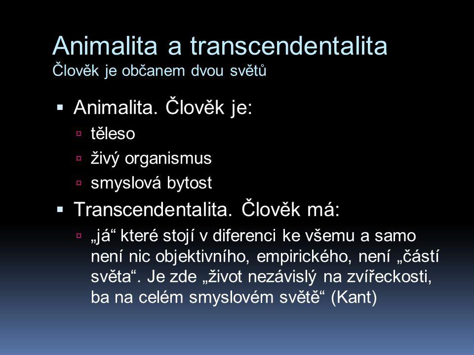 Animalita a transcendentalita Člověk je občanem dvou světů