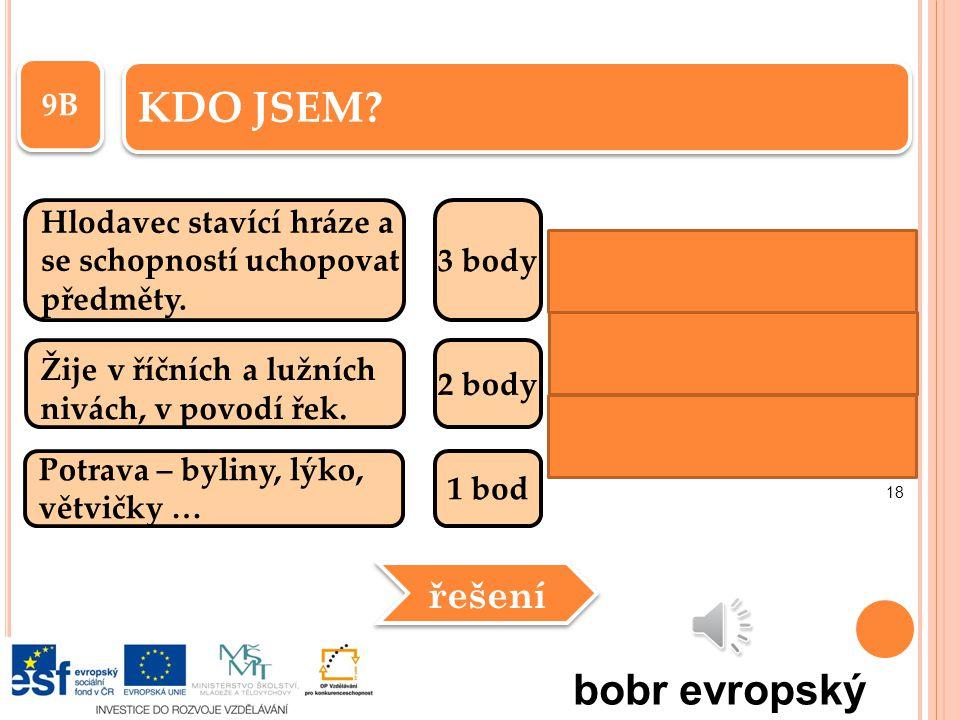 KDO JSEM bobr evropský řešení 9B Hlodavec stavící hráze a