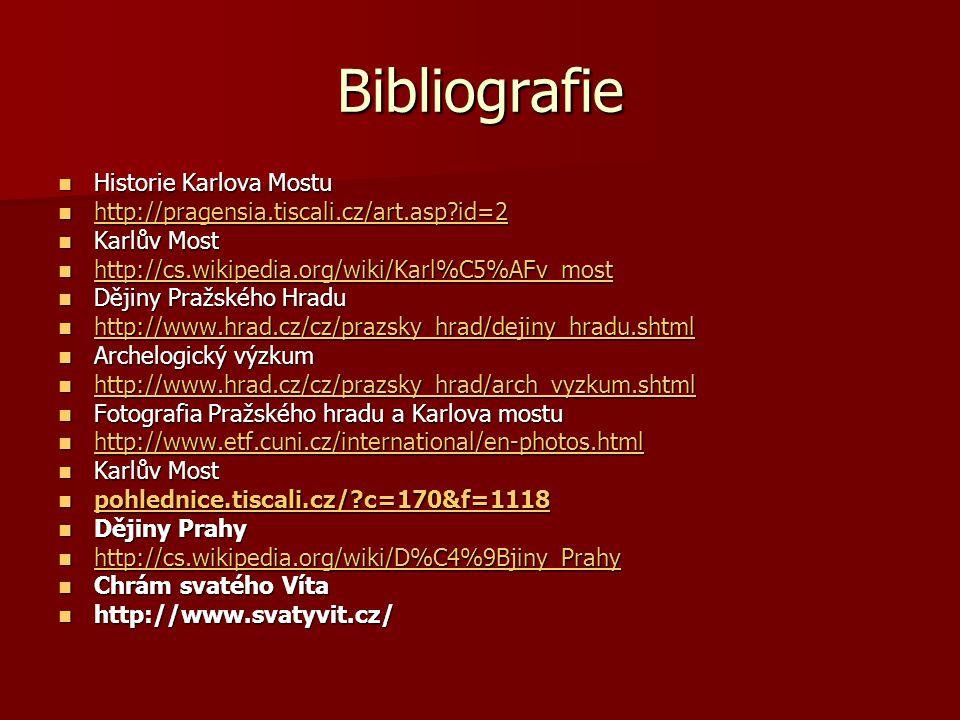 Bibliografie Historie Karlova Mostu