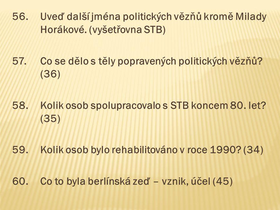 56. Uveď další jména politických vězňů kromě Milady Horákové