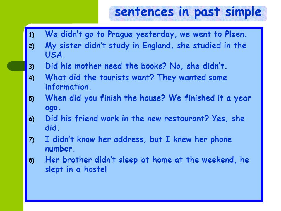 sentences in past simple