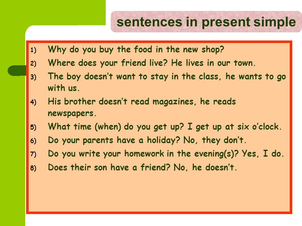 sentences in present simple