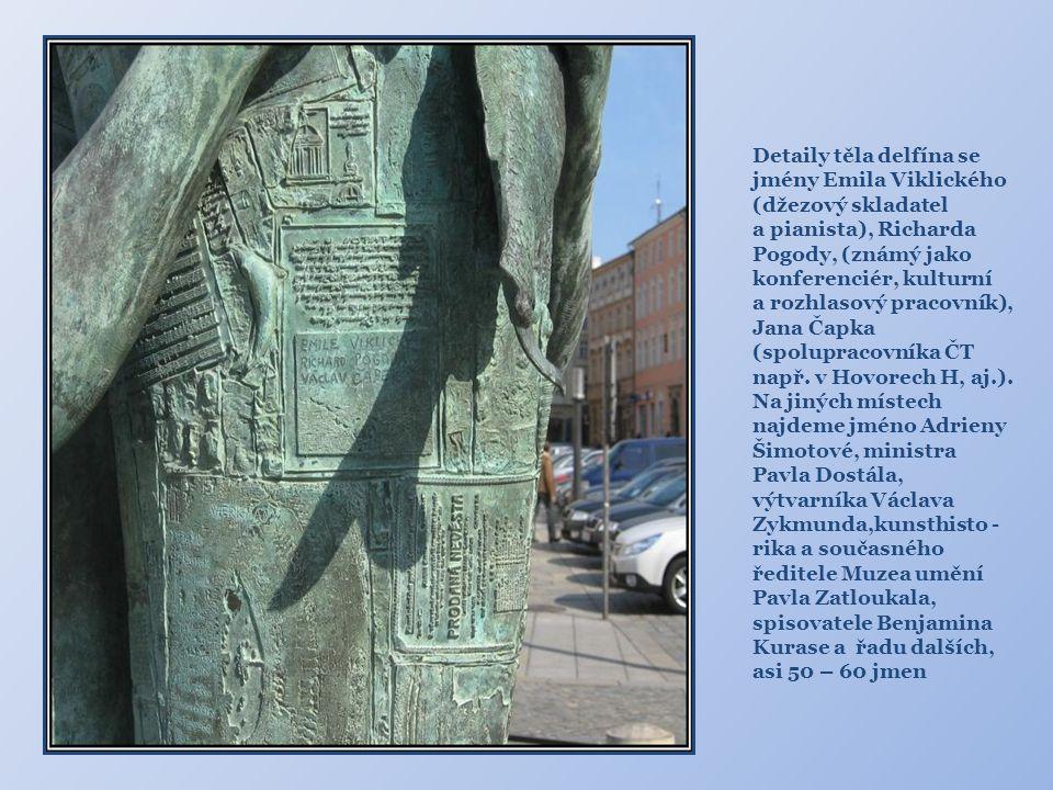 Detaily těla delfína se jmény Emila Viklického (džezový skladatel
